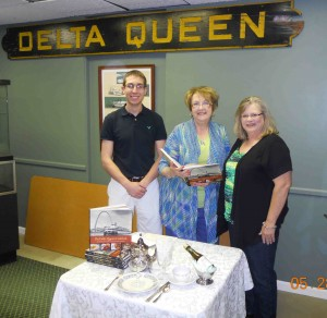 Ohio Valley River Museum President, Taylor Abbott with Barbara Rush, Director and Kelly Wright, of Clarington Chapter #533 Order of Eastern Stars going over dinner menu and plans for the fundraiser dinner set for Friday, June 14th.